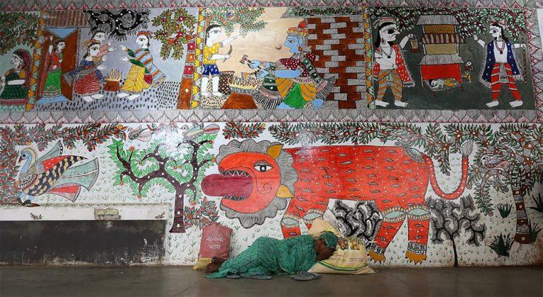 نگاهی به نقاشی های سنتی ایستگاه راه آهن Madhubani هند