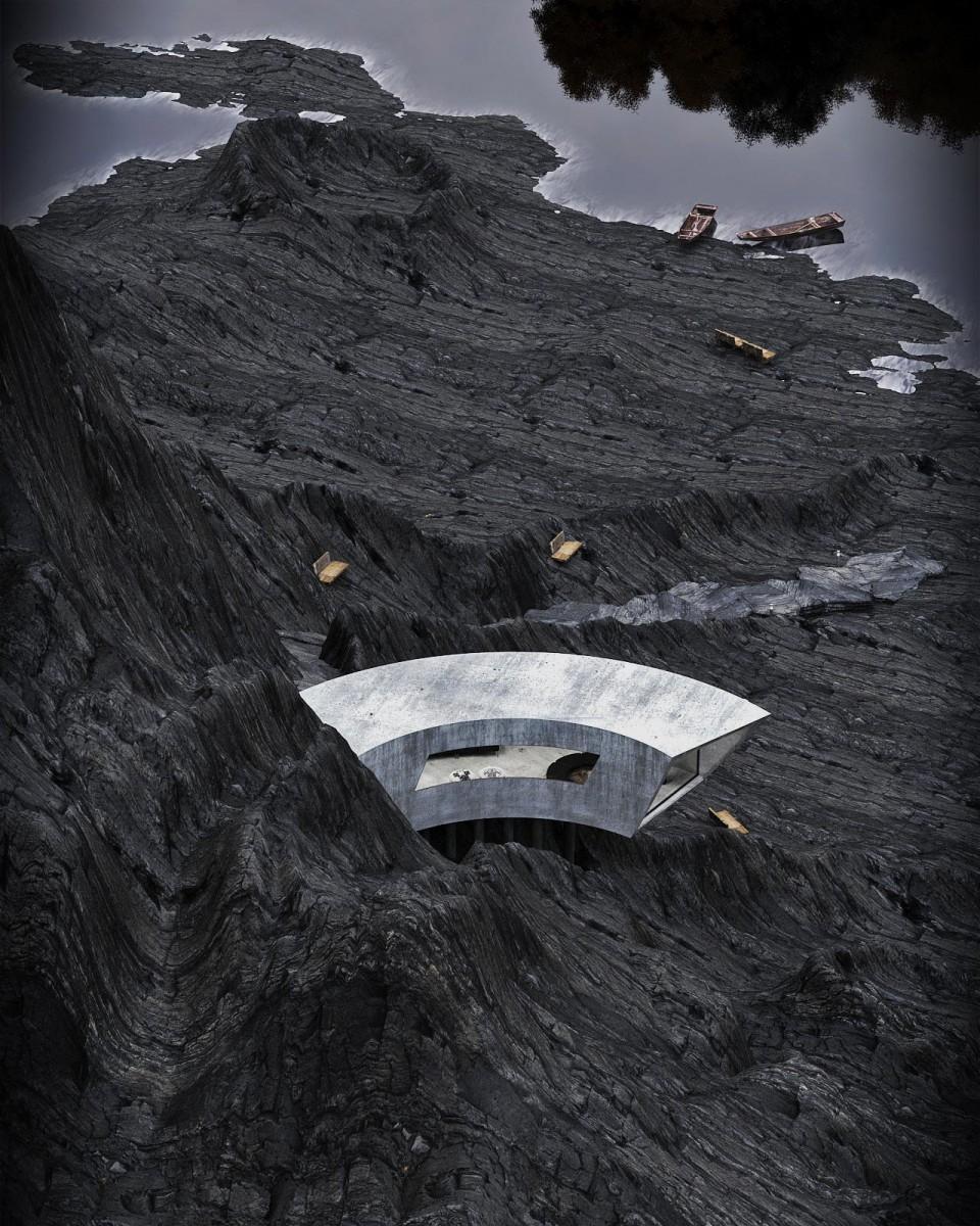 طرح آینده گرایانه ی رضا محتشمی برای خانه ی بتنی روی صخره