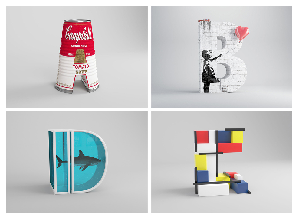 استفاده از آثار 26 هنرمند معروف در طراحی حروف لاتین