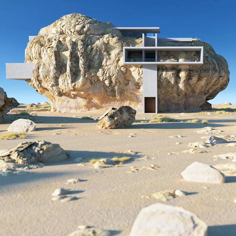 «خانۀ درون صخره»؛ سطوح بتنی مینیمالی را به نمایش می گذارد که هندسۀ ارگانیک را می شکافند