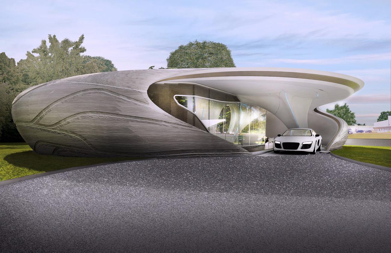 طراحی خانه منحنی با چاپ سه بعدی