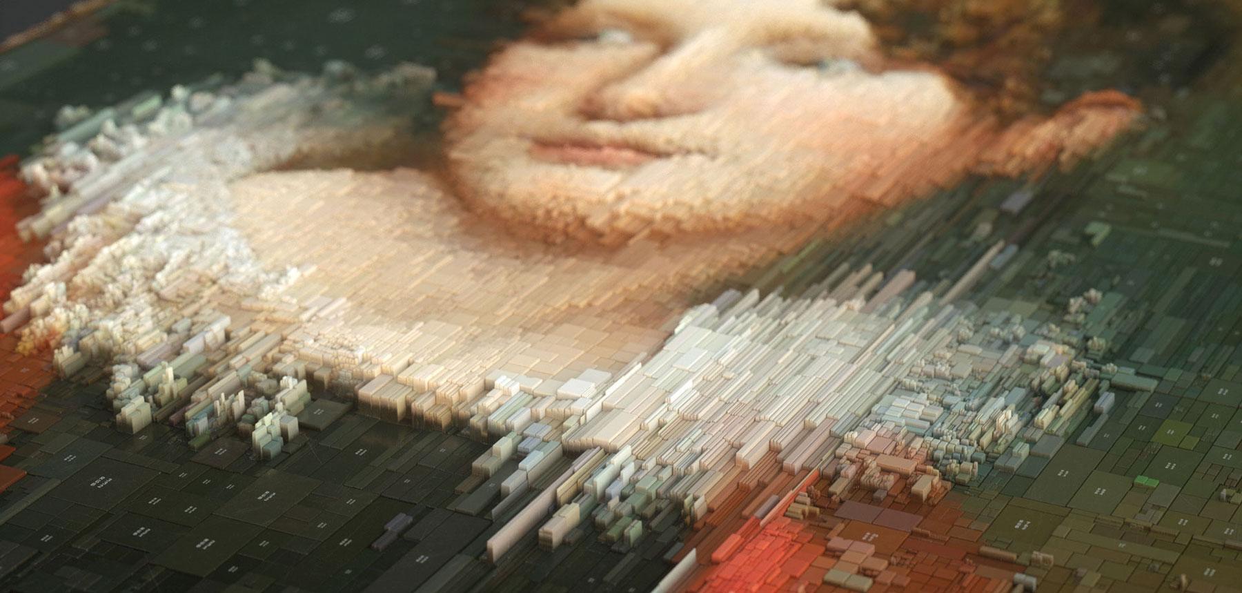 ایجاد الگوهای هندسی تصادفی بر آثار هنری کلاسیک