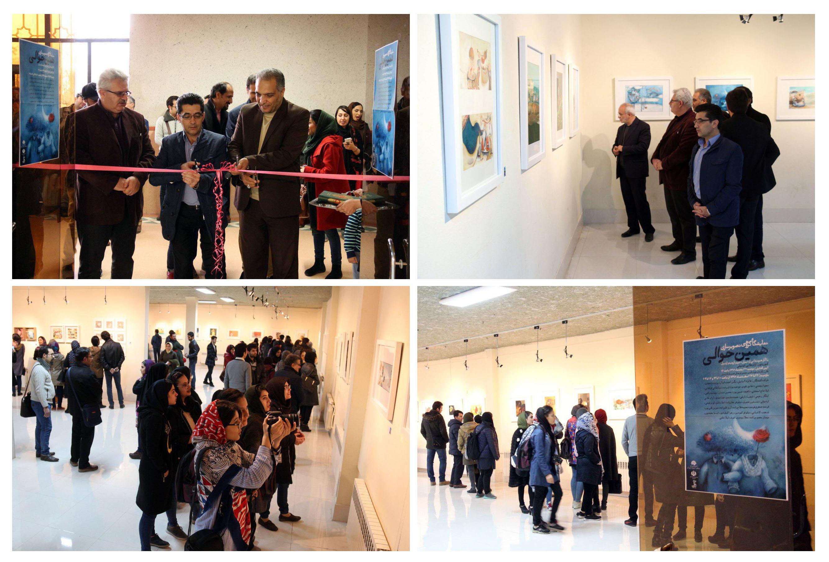 گزارش تصویری نخستین نمایشگاه گروهی تصویرسازی در نگارخانه قوام الدین مجتمع فرهنگی هنری فدک اردبیل