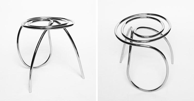 چهارپایه ای ساخته شده از یک قطعه واحد لوله فولاد ضدزنگ
