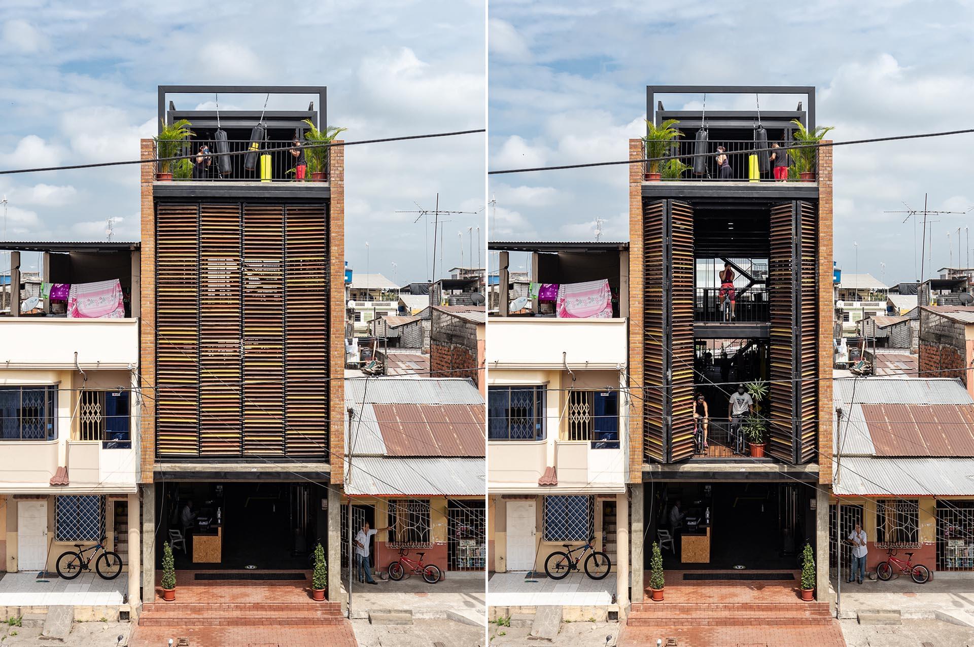 کنترل نور و تهویه باشگاه با نمای ساختمان