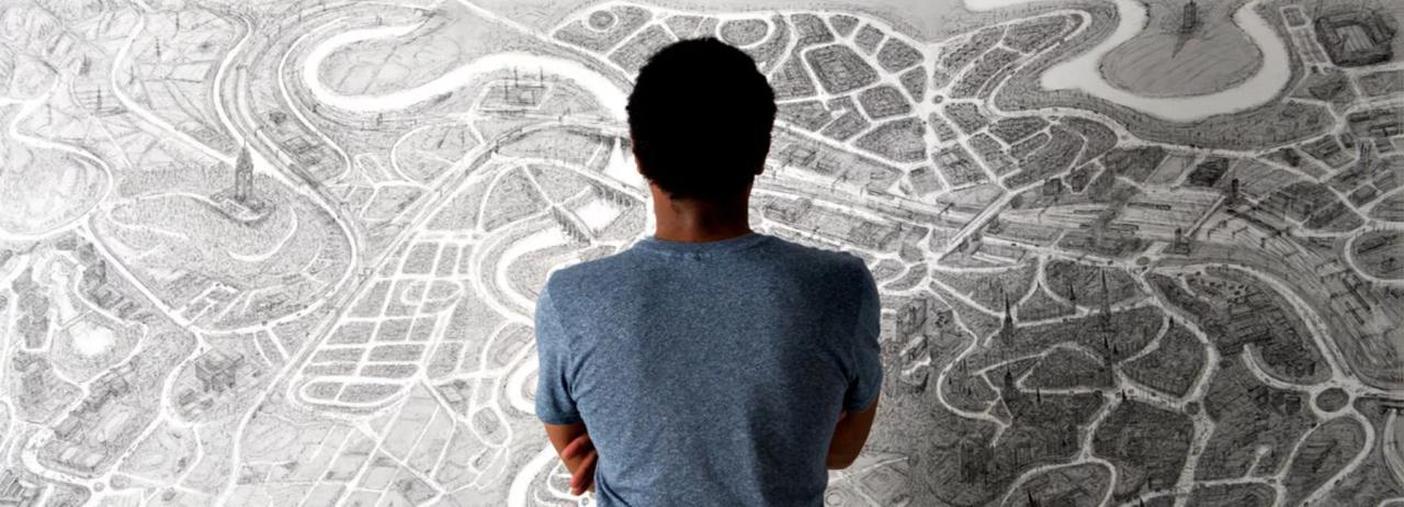 طراحی های یک هنرمند از نقشه های هوایی
