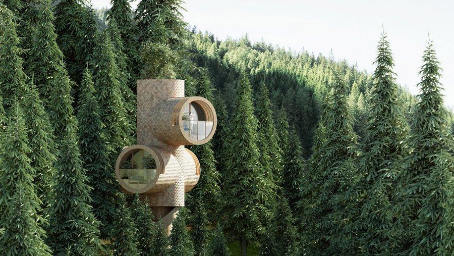 طراحی خانه درختی مدولار کوچک توسط استودیو Prechts