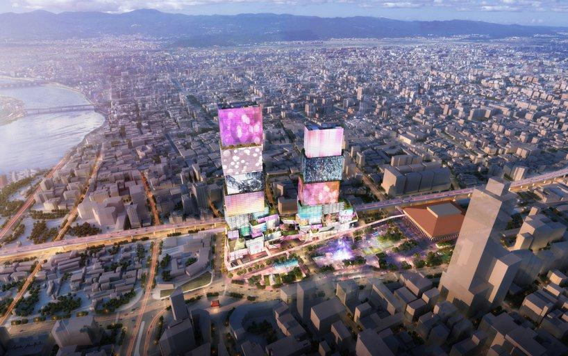 طرح پیشنهادی MVRDV برای «برجهای دوقلوی تایپه» با پوششی از نماهای رسانهای تعاملی