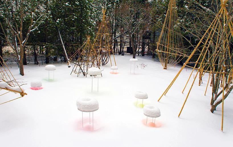 بازتاب های رنگی دونات روی برف