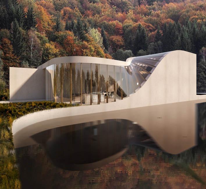 دویدن دیوار ها به سوی سقف در خانه ویلایی سوئیسی