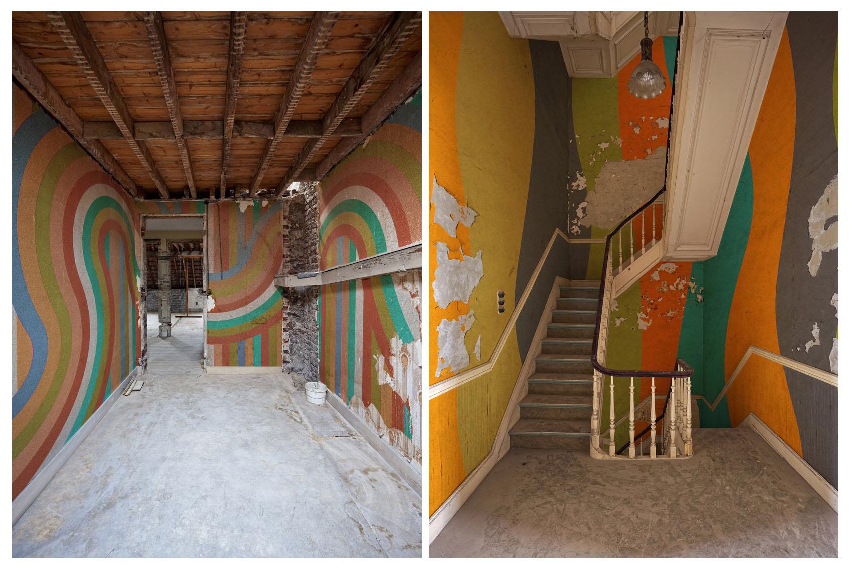 عکاس بلژیکی نقاشی های جذابِ دیواری را در حالتی از ویرانی به تصویر می کشد